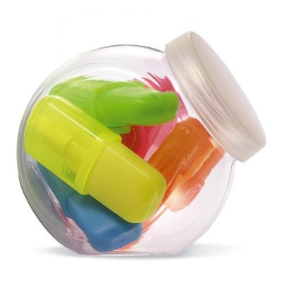 Set de 5 marcadores en caja de plástico para publicidad y regalo