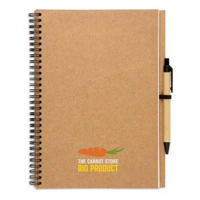 Libreta de papel reciclado con bolígrafo para empresas