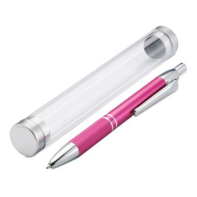 Bolígrafo promocional de aluminio con funda en forma de tubo