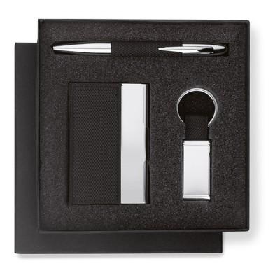 Set de regalo que incluye bolígrafo, tarjetero y llavero