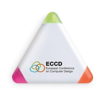 Marcador triangular de tres colores para publicidad y empresas