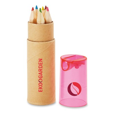 Set de lápices para publicidad  de 6 colores con tapón rosa