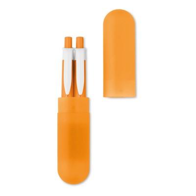 Set de lápiz y bolígrafo publicitario barato en funda de plástico